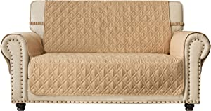Ameritex Loveseat Cover Water-Resistant Quilted Furniture Protector with Back Nonslip Paws Slipcover for Dogs, Kids, Pets Loveseat Slipcover Stay in Place for Leather (54