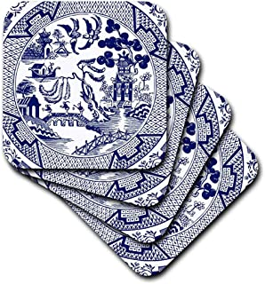 3dRose cst_262242_2 Willow Pattern Detail in Blue and White, set of 8 Soft Coasters