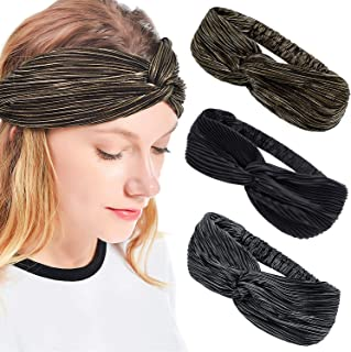 iloovee 3pcs Gold Wire Headbands for Women Stretch Vintage Cross Stripes Hair Band Hair Accessory for Women Wide Headbands for Women Girls Yoga Hiking Dance