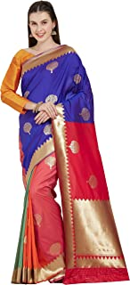 Viva N Diva Sarees for Women`s Kanchivaram Silk Woven Saree with Un-Stiched Blouse Piece,Free Size