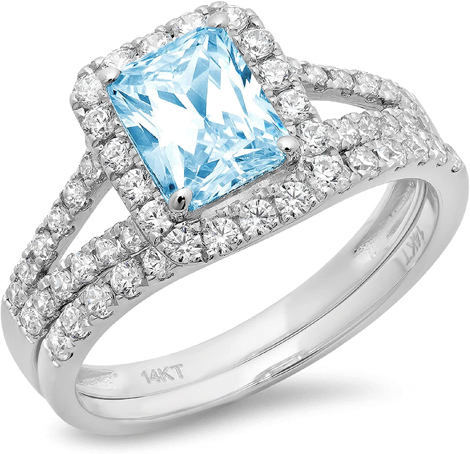 1.54ct Emerald Round Cut Pave Halo Split Shank Solitaire Accent VVS1 Ideal Natural Swiss Blue Topaz Engagement Promise Designer Anniversary Wedding Bridal Ring band set 14k White Gold
