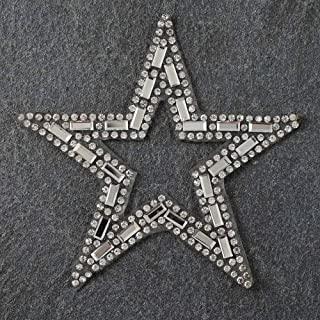 2-pcs Star Rhinestone Beaded Iron-on Applique, Bridal Applique Patch, TR-10949B (3-1/4