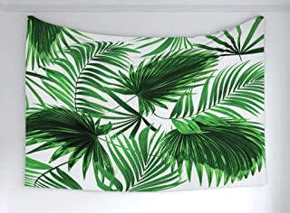 Ambesonne Palm Leaf Tapestry, Realistic Vivid Leaves of Palm Tree Growth Ecology Lush Botany Themed Print, Fabric Wall Hanging Decor for Bedroom Living Room Dorm, 90