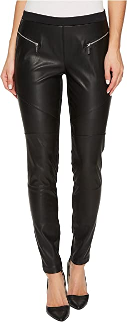 MICHAEL Michael Kors - Faux Leather Front Moto Leggings
