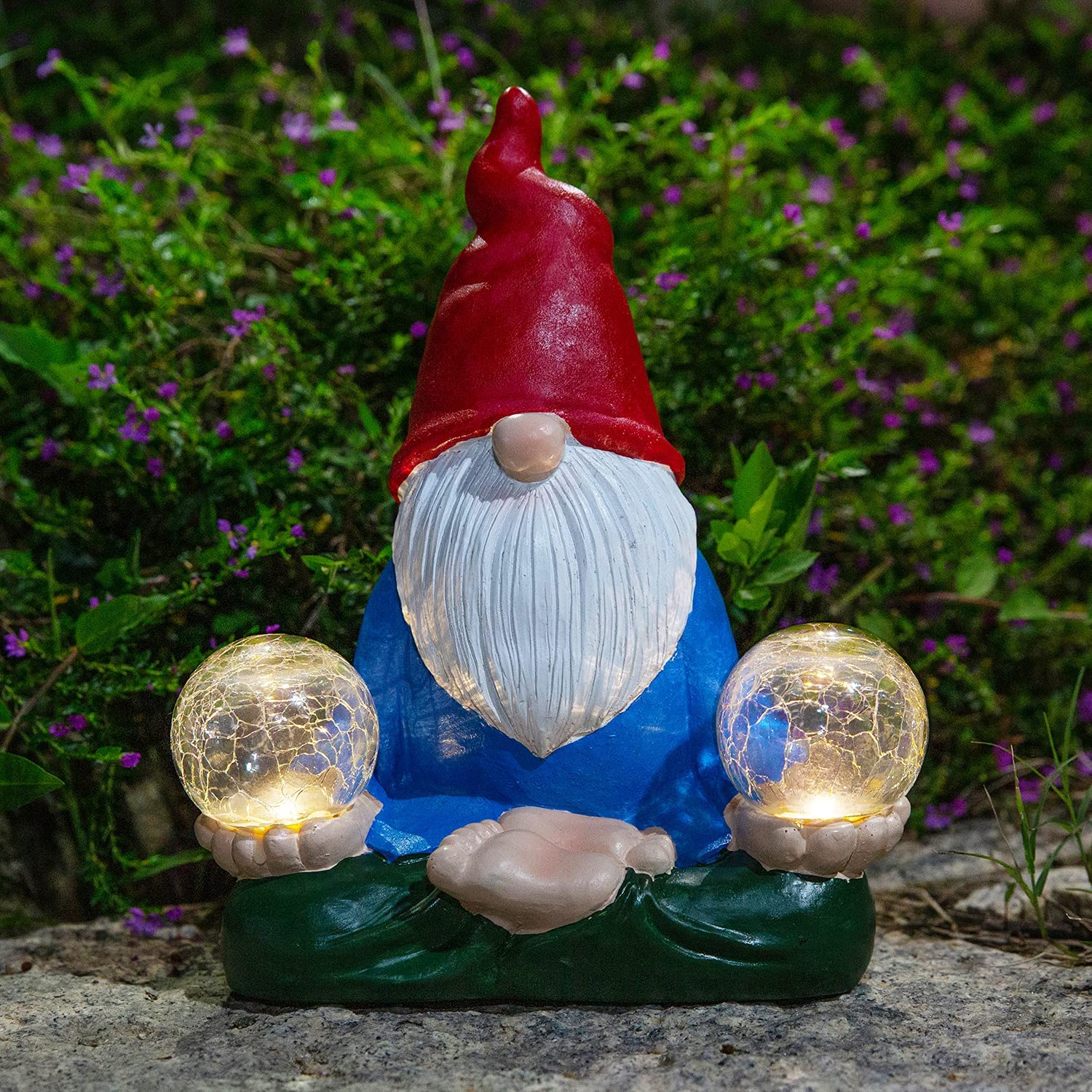 Garden Gnome Statue Funny Resin Gnomes with Solar Lights Waterproof Cracked Glass Ball Warm White LED for Outdoor Garden Decor Decorative Patio Yard Pathway Walkway Courtyard Lawn,2 Globe
