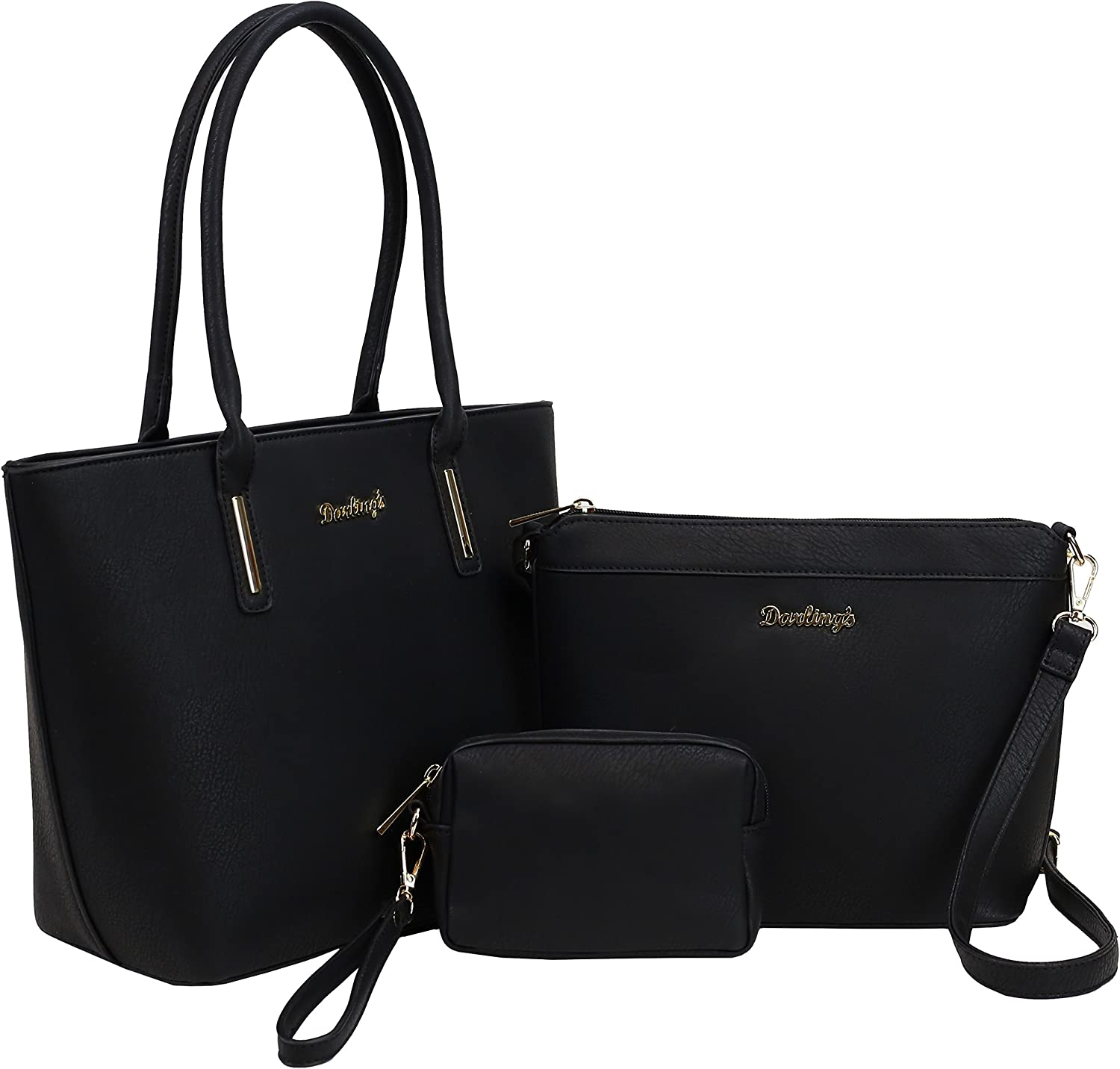 Darling's Classic Faux Leather Designer Carryall Tote - 3 Piece Shoulder Crossbody Carry Bag Set - Large, Medium & Small