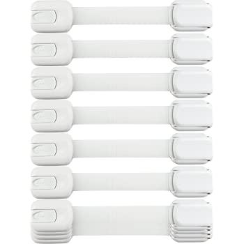Baby Safety Cabinet Locks - Value Pack (10 Straps) to Baby Proof Cabinets, Drawers, Toilet, Fridge & More - Easy to Use & Easy to Install Child Safety Locks with 3m Adhesive - No Tools Needed (White)