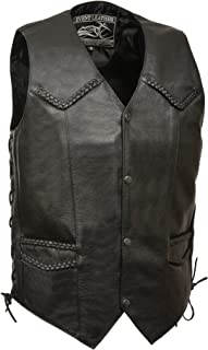 Event Biker Leather Men's Promo Grade Braided Side Lace Leather Vest