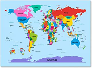 Childrens World Map by Michael Tompsett work, 22 by 32-Inch Canvas Wall Art