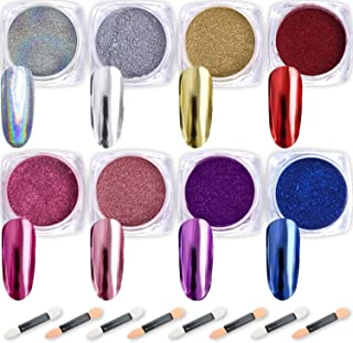 Nail Powder Wenida 8 Colors 1g/Jar Premium Chrome Mirror Laser Synthetic Resin Powder Manicure Art Decoration With 8pcs Eyeshadow Sticks