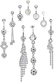 sailimue 9 Pcs 14G Stainless Steel Dangle Belly Button Rings for Women Barbell Navel Rings Clear CZ Inlaid Curved Belly Piercing Set Body Piercing Jewelry