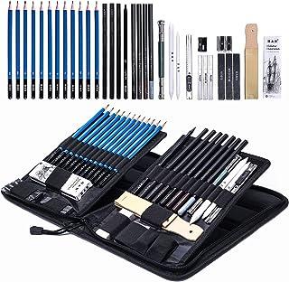 مدادهای رسم گرافیکی H&B و مجموعه طرح های مجموعه 40 قطعه ای کامل کیت هنرمند شامل ذغال سنگ ، پاستیل و کیف حمل بسته شده زیپ ، شامل پایه نادر پاپ آپ