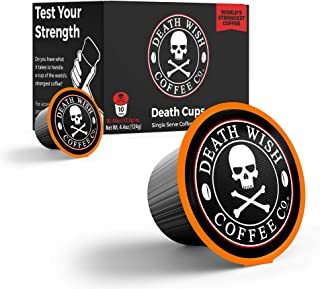 DEATH WISH Death Cups [10 Count] Single Serve Coffee Pods, World's Strongest Coffee, Dark Roast, Capsule Cup, USDA Certifi...