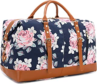 Weekend Travel Bag Ladies Women Duffle Tote Bags PU Leather Trim Canvas Overnight Bag (Flower-Dark Blue)