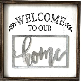 Paris Loft Welcome to Our Home Wooden and Metal Quote Plaque Sign Wall Greeting Sign Home Gifts