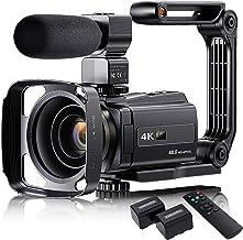 "دوربین فیلمبرداری 4K با میکروفون ، VAFOTON 48MP 60FPS Vlogging Camera for YouTube 16X Zoom 3.0 ""Touch Screen IR Night Vision Wi-Fi Vlog Camera Webcam with Handheld Stabilizer Remote Control"
