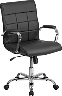 Flash Furniture Mid-Back Black Vinyl Executive Swivel Chair with Chrome Base and Arms