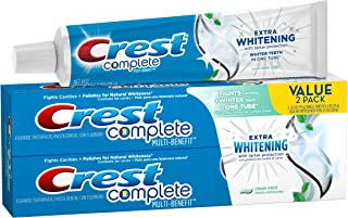 Crest Complete Multi-Benefit Extra Whitening Tartar Protection Clean Mint Flavor Toothpaste Twin Pack 12.4 Oz, Pack of 3 (6 Tubes Total)