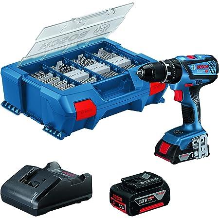 Bosch Professional 18V System Akku Schlagbohrschrauber GSB 18V-28 (inkl. 1x2.0 Ah Akku, 1x 4.0 Ah Akku, Ladegerät GAL 18V-20, L-Case PickundClick mit 100-teiligem Zubehör-Set) - Amazon Edition