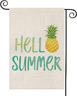 AVOIN Hello Summer Pineapple Watercolor Garden Flag Vertical Double Sided, Seasonal Rustic Hawaiian Burlap Yard Outdoor De...