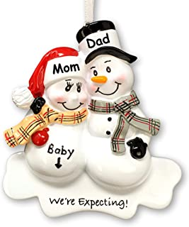 Personalized Expecting Couple Christmas Ornament - Pregnant Parents - Custom Name and Date