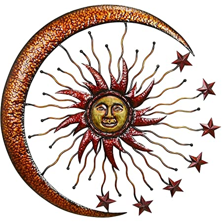 Garden Wall Sun Moon Star Metal Art Ornament-Easter Decorations-Hanging Sculpture Craft Decoration for Outdoor Fence Porch Home Patio Blue