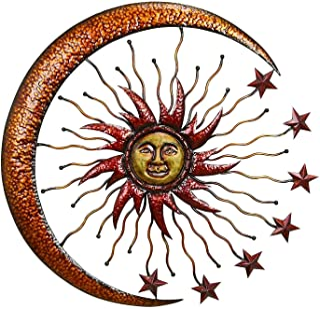 Bellaa 20025 Eclectic Celestial Metal Wall Decor Sun Moon Star Outdoor Garden Patio Porch Home Living Room Bedroom Plaque ...