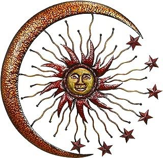 Bellaa 20025 World Best Sun Moon Stars Metal Wall Art 36 inch