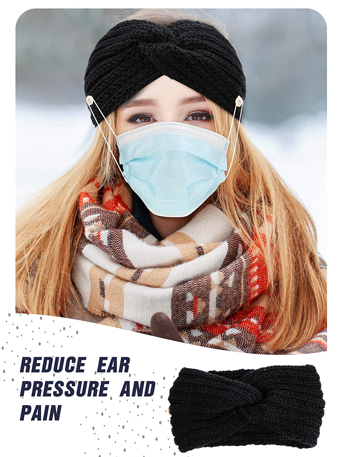 4 Pieces Winter Women Knit Ear Warmer Headbands with Button Knit Thick Warm Headband Cable Head Wrap Ear Muffs