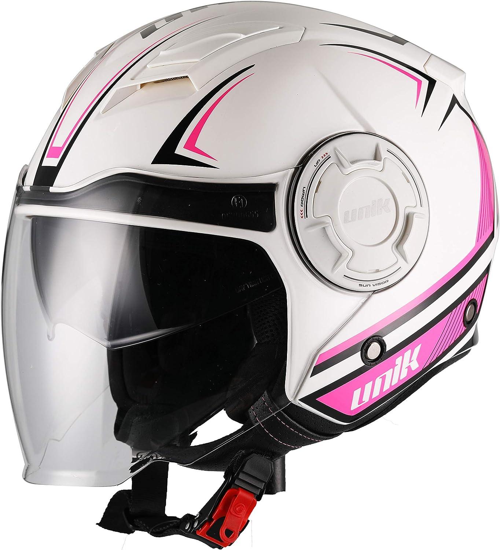UNIK Men's Cj-11 Volt Jet Helmet with Solar Glasses, Colour-Volt White pink Flu, Size-Large