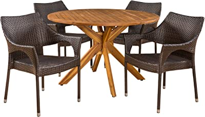 Christopher Knight Home Anthony Outdoor 5 Piece Multibrown Wicker Set with Teak Finish Circular Acacia Wood Dining Table