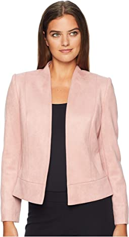 Faux Suede Jacket with Seam Detail