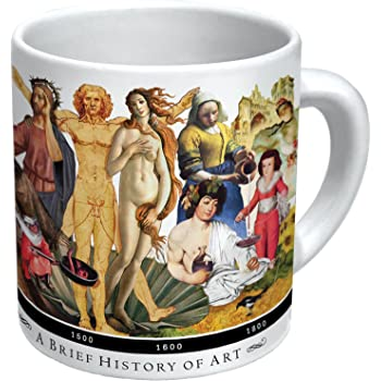 The Unemployed Philosophers Guild Brief History of Art Coffee Mug - History's Greatest Masterpieces from Da Vinci to Koons - Comes in a Fun Gift Box