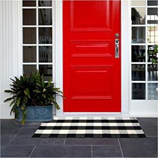 Buffalo Check Outdoor Rug Mat - Buffalo Plaid Rug 24''x51.2'', Black and White Outdoor Rug Includes 4PCS Rug Grippers. Buffalo Check Rug as Front Door mat or Indoors