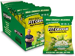 FITCRUNCH Protein Puffs, Low Carb Snack, Designed by Robert Irvine, Keto-Friendly, Protein Snack & Keto Snack, Low Sugar, NON-GMO, Gluten Free, 20g of Protein, 240g (8 Bags) (Sour Cream and Onion)