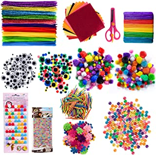 GIEMSON 1240 Pcs Arts and Crafts Supplies for Kids Include Pipe Cleaners, Pom Poms, Craft Sticks, Buttons, Sequins for Cra...