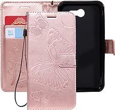 Ropigo Emboss 3D Butterfly Wallet Case for Samsung Galaxy J7 2017/ J7 V/ J7 Prime/ J7 Perx/ J7 Sky Pro/Halo Flip Leather Protective Case with Wrist Strap and Credit Card Slots Holder Rose Glod