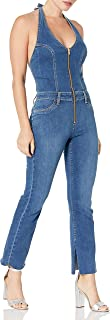 Women's Micro Flare Halter Jumper Jean in Doris