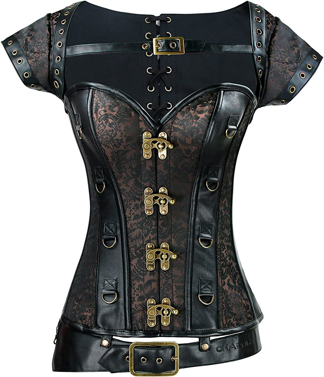 Women's Steampunk Leather Gothic Steel Boned Overbust Corset with Jacket