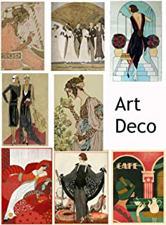 Vintage Printed Art Deco Reproduction Cards Collage Sheet #106 Scrapbooking, Decoupage, Labels