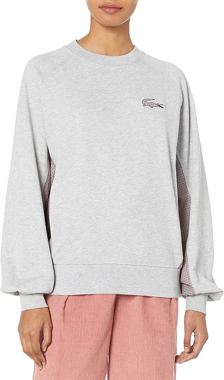 Lacoste Womens Oversized Cotton Poly Fleece Sweatshirt W/ Tattersall Trim