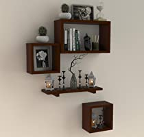 FABULO Wooden Floating Wall Shelf with 4 Shelves - MDF Wall Mounted Shelf for Living Room, Bedroom, Office Decor -...