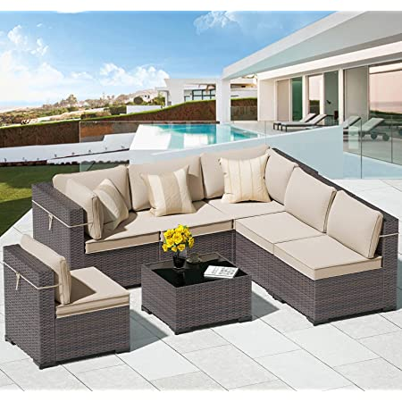 ALAULM 7 Piece Outdoor Patio Furniture Sets Patio Sectional Outdoor Furniture Manual Weaving Wicker Patio Sofa Porch Deck Couch Brown PE Rattan Conversation Set w/Coffee Table & Khaki Thick Cushions