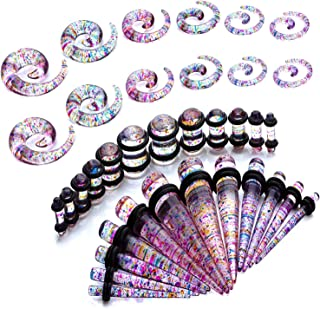 36PC Gauges Kit Ear Stretching 8G-00G Color Splash Acrylic Spiral Tapers Plugs Body Piercing