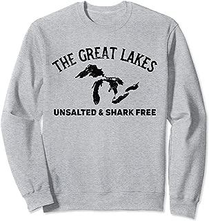 The Great Lakes Unsalted & Shark Free Michigan Gift Vintage Sweatshirt