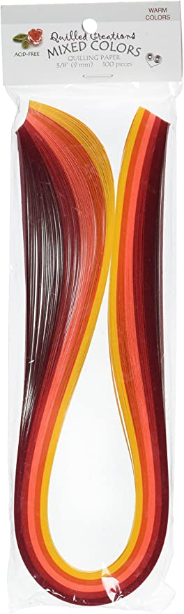 Quilled Creations QC25-5 Quilling Strips Mixed Color Paper 100 Per Package Warm 1//8-Inch