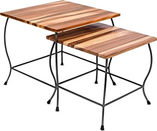 BIRDROCK HOME 2pc Acacia Wood Nesting Tables - Natural Wood Bed Sofa Snack End Table - Industrial Design - Accent Side Table - Living Room