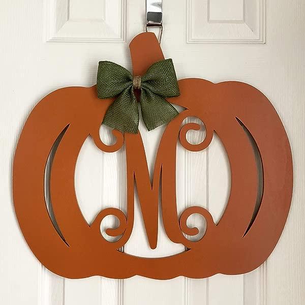 Monogram Pumpkin Door Hanger Fall Door Hanger Pumpkin Initial Wreath Autumn Door Hanger Pumpkin Wreath Door Pumpkin Decor