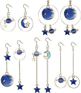 SAILIMUE 5 Pairs Enamel Moon Star Earth Planet Earrings Set Asymmetric Long Pendant Hook Dangle Stud Earrings for Women