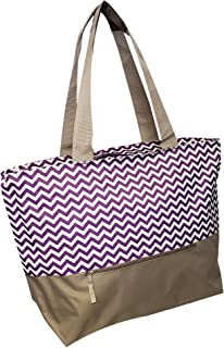 XL Beach Tote Chevron Print Weekender Bag with Mesh Webbed Handles and Outer Zippered PocketCan Be Personalized (Blank, Purple)